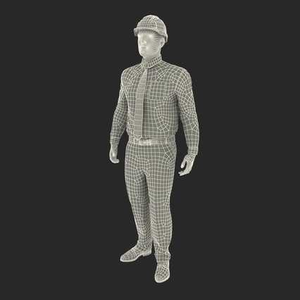 Construction Engineer in Hardhat Standing Pose. Render 4
