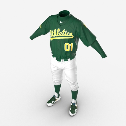 Baseball Player Outfit Athletics 3. Render 14