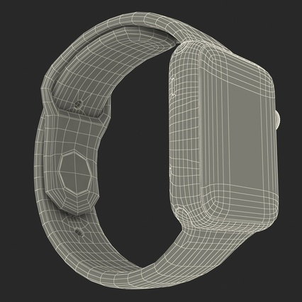 Apple Watch Sport Band White Fluoroelastomer 2. Render 44