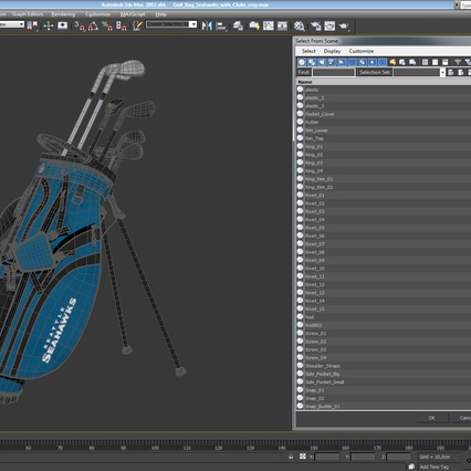 Golf Bag Seahawks with Clubs. Render 22