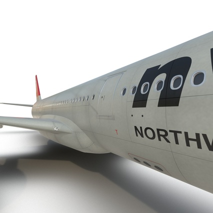 Jet Airliner Airbus A330-300 Northwest Airlines Rigged. Render 44