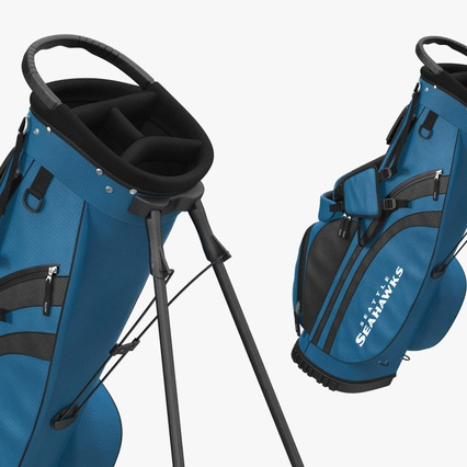Golf Bag Seahawks with Clubs. Render 12