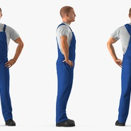 Construction Worker Blue Overalls Standing Pose. Preview 6