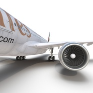 Jet Airliner Airbus A330-300 Emirates Rigged. Preview 48