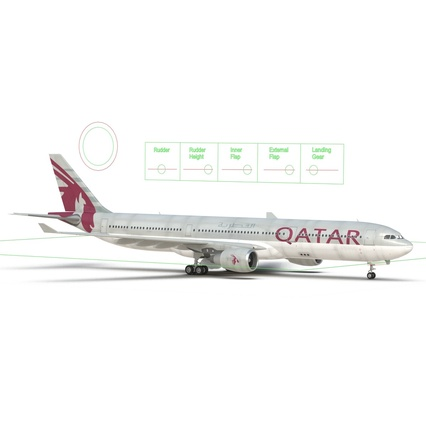 Jet Airliner Airbus A330-300 Qatar Rigged. Render 49
