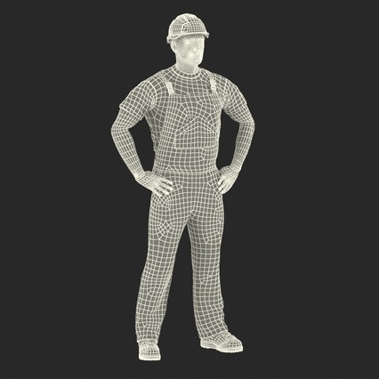 Construction Worker Black Uniform with Hardhat Standing. Render 4
