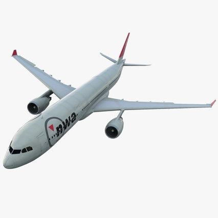 Jet Airliner Airbus A330-300 Northwest Airlines Rigged. Render 1