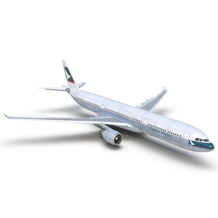 Jet Airliner Airbus A330-300 Cathay Pacific Rigged. Render 16