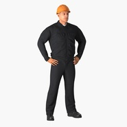Worker Black Uniform with Hardhat Standing Pose. Preview 3