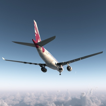 Jet Airliner Airbus A330-200 Qatar. Render 10