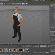 Construction Worker Black Uniform Standing Pose. Preview 21