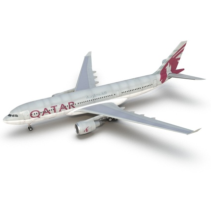 Jet Airliner Airbus A330-200 Qatar. Render 25