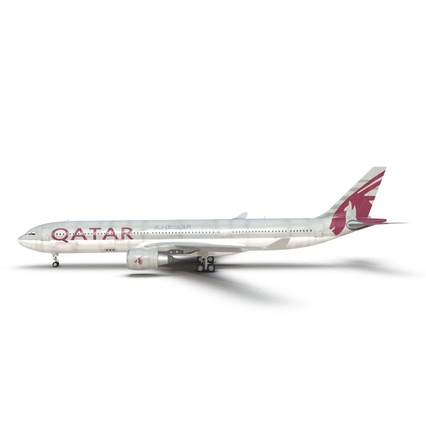 Jet Airliner Airbus A330-300 Qatar Rigged. Render 20