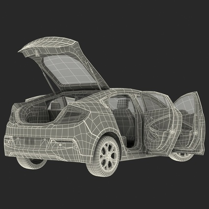 Generic Hybrid Car Rigged. Render 80
