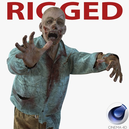 Zombie Rigged for Cinema 4D. Render 1