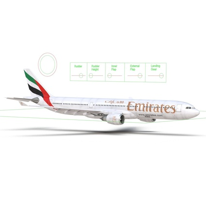 Jet Airliner Airbus A330-300 Emirates Rigged. Render 52