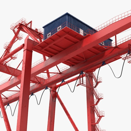 Port Container Crane Red with Container. Render 17