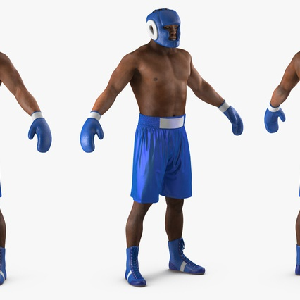 African American Boxer Rigged for Cinema 4D. Render 9