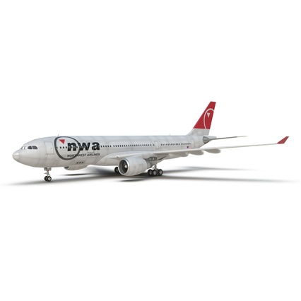 Jet Airliner Airbus A330-200 Northwest Airlines Rigged. Render 19