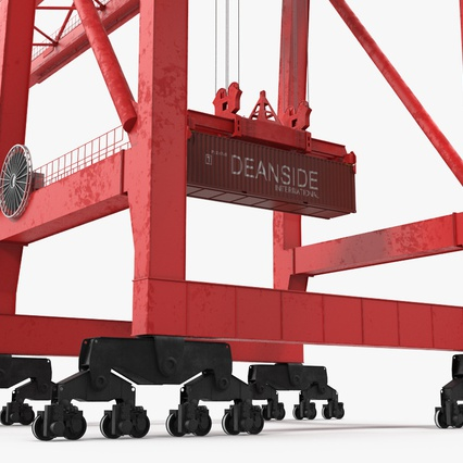 Port Container Crane Red with Container. Render 21