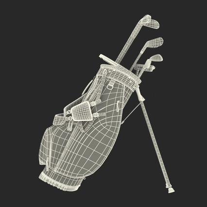 Golf Bag Seahawks with Clubs. Render 24
