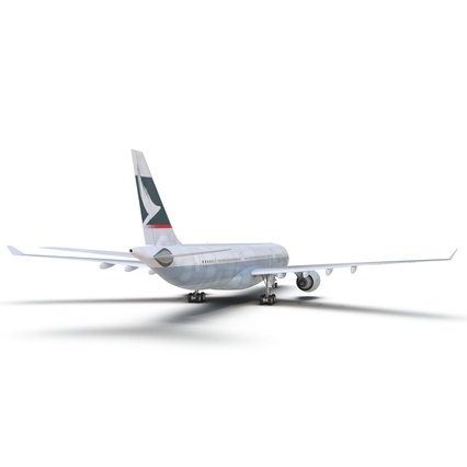 Jet Airliner Airbus A330-300 Cathay Pacific Rigged. Render 23