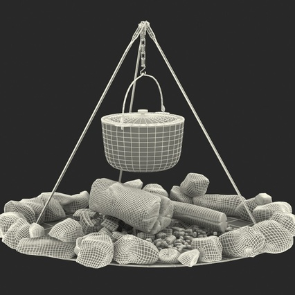 Campfire with Tripod and Cooking Pot. Render 4