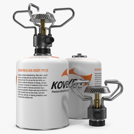 Gas Cylinder with Camping Stove Kovea. Render 2