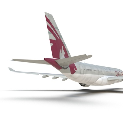 Jet Airliner Airbus A330-200 Qatar. Render 34
