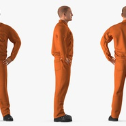 Factory Worker Orange Overalls Standing Pose. Preview 5