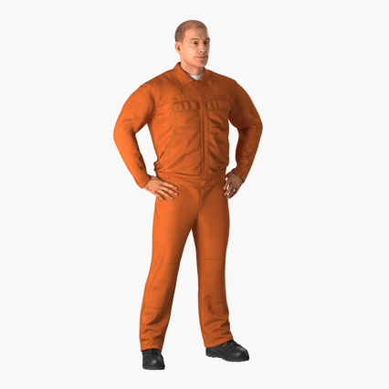 Factory Worker Orange Overalls Standing Pose. Render 3