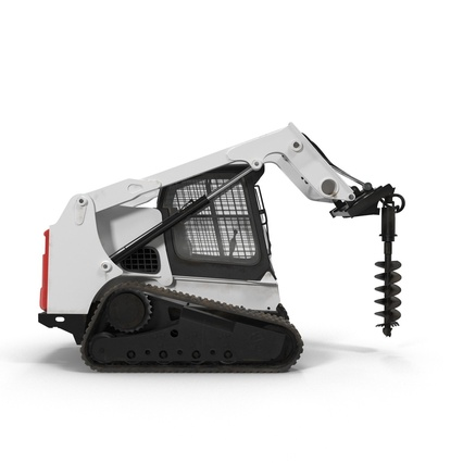 Compact Tracked Loader with Auger. Render 3