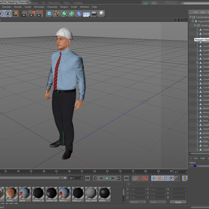 Construction Engineer in Hardhat Standing Pose. Render 23