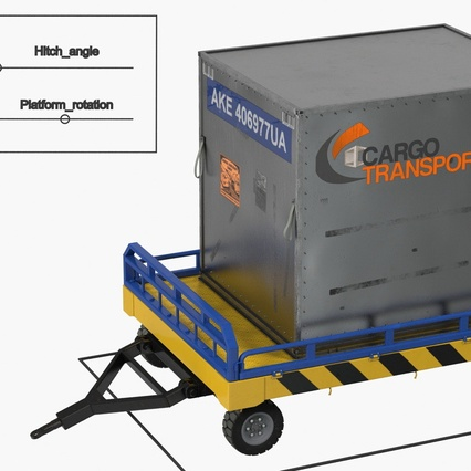 Airport Transport Trailer Low Bed Platform with Container Rigged. Render 4