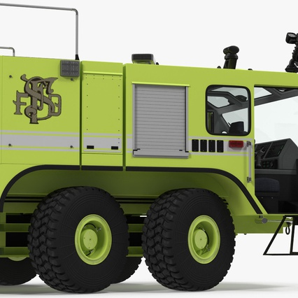 Oshkosh Striker 4500 Aircraft Rescue and Firefighting Vehicle Rigged. Render 21