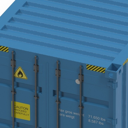40 ft High Cube Container Blue 2. Render 27