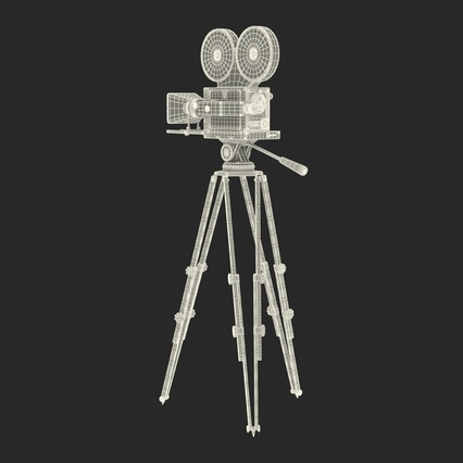 Vintage Video Camera and Tripod. Render 36