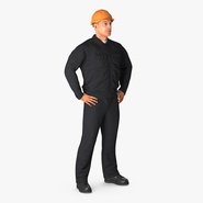 Worker Black Uniform with Hardhat Standing Pose. Preview 1