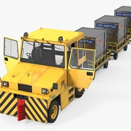 Push Back Tractor Hallam HE50 Carrying Passengers Luggage Rigged. Preview 2