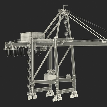 Port Container Crane Red with Container. Render 4