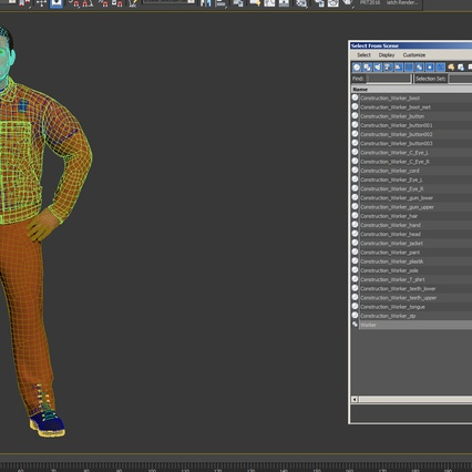 Factory Worker Orange Overalls Standing Pose. Render 21