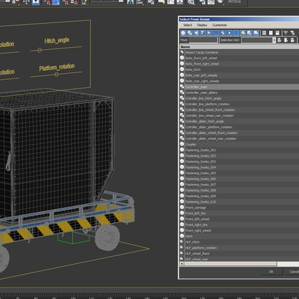 Airport Transport Trailer Low Bed Platform with Container Rigged. Render 31