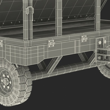 Airport Luggage Trolley Baggage Trailer with Container. Render 34