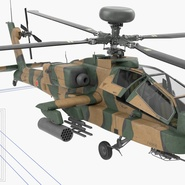 AH-64D Apache Longbow Japan Rigged. Preview 22