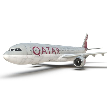 Jet Airliner Airbus A330-300 Qatar Rigged. Render 37