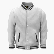 White Baseball Jacket. Preview 3