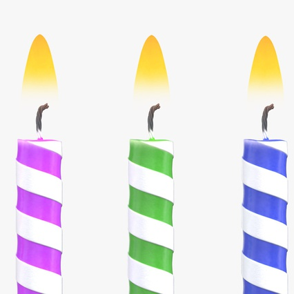Birthday Candles with Flame Set. Render 5
