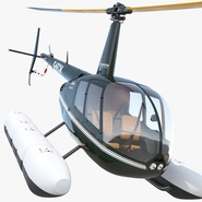 Helicopter Robinson R44 With Floats Rigged 2