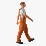 Builder Wearing Orange Coveralls Walking Pose
