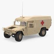 Ambulance Car HMMWV m996 Rigged Desert